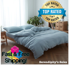 3-Piece Queen Light Blue Duvet Cover Set Ultra Soft 100% Cotton EasyCare Bedding
