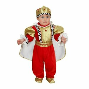 Costume di Carnevale Neonato Piccolo Re Colore Rosso/Oro Made in Italy