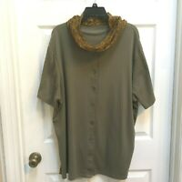 Women's Button Front Knit Top size 22/24 w/scarf Avocado Green