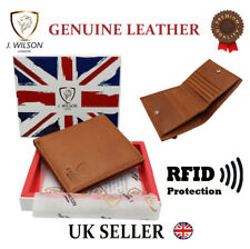 Sicura RFID Mens Leather Wallet Designer Veg Tan contatto meno carta zip tasca monete