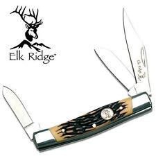 "ELK RIDGE LARGE STOCKMAN POCKET KNIFE IMT STAG BONE HANDLE 3 7/8"" ER043I NEW"