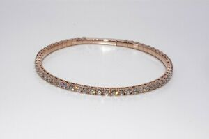 $9,500 4.89CT NATURAL ROUND CUT DIAMOND TENNIS BANGLE BRACELET 14K ROSE GOLD