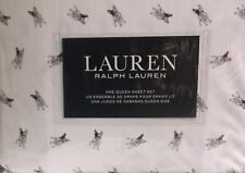 RALPH LAUREN FRENCH BULL DOGS QUEEN SHEETS WHITE GRAY 4 PIECE QUEEN SHEET SET