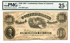 1861 $100 Confederate Currency T-7 Pmg 25 Net
