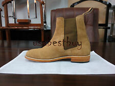 New Pure Handmade Mens Beige Chelsea Suede Leather Boots, Chelsea leather boots