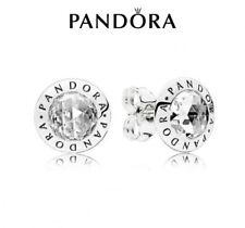 Genuine Pandora Radiant Logo Stud Earrings 296216CZ