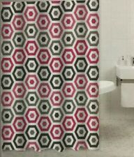 Peva Shower Curtain- Pink/White/Grey/Black Hexagons 72x72in