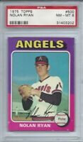 1975 TOPPS #500 NOLAN RYAN, PSA 8 NM-MT, HOF, CALIFORNIA ANGELS, K KING,  L@@K