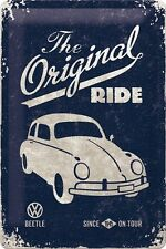 A4 Retro Tin Metal Embossed Sign ORIGINAL RIDE...BEETLE Rustic VW Licensed Prod