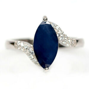 NATURAL 6 X 12 mm. BLUE SAPPHIRE & WHITE CZ 925 STERLING SILVER RING SZ 6