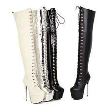 16CM Super High Heel Platform Women's Over The Knee Thigh High Boots Clubwear L