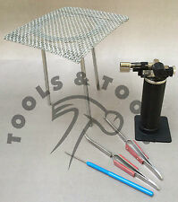 5 un. de kit de soldadura Butano Gas Micro Antorcha trípode de fibra Pinzas Aluminio Pick