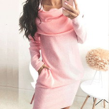 Winter Women Ladies Casual Turtleneck Bodycon Long Sleeve Sweater Mini Dress