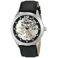 Stuhrling Legacy 671 Men's 45mm Black Calfskin Stainless Steel Case Watch 671.01