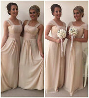 Champagne Maxi Bridesmaid Dress Wedding Formal Evening Chiffon Party Prom Dress