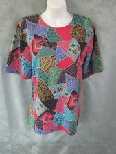 Graff Blouse Size 14 Patchwork Print Collarless Career Shell Top