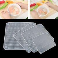 4x Wiederverwendbar Silikondeckel Stretch Frischhaltefolie Lebensmittel Wraps