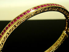 Genuine 9ct SOLID Heavy Yellow Gold NATURAL Ruby Hinged Bangle Scroll opens