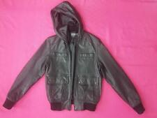Womens Topman Genuine Leather Ladies Jacket  Long Sleeves Black  UK 10
