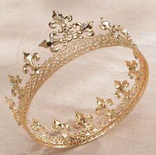 Round Full King Gold Metal Hair Crown Rhinestone Crystal Fleur-De-Lis Men's H919