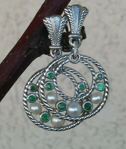 Judith Ripka Emerald And Pearl CLIP ON Circle Dangle Earrings Sterling Silver