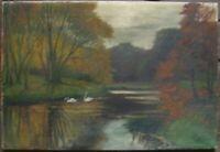 Dipinto a Olio 2 Cigni Autunno Antico per Preparare Firmato 1931 Fiume Riva Lago