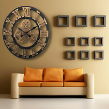 Large Wall Clock Traditional Roman Numerals Skeleton Outdoor Garden Metal Round