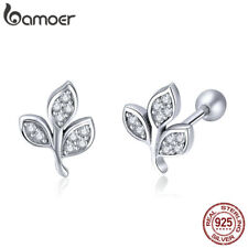 BAMOER S925 Sterling Silver Stud Earrings Leaves plant With AAA Cz For Women