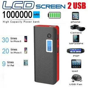 1000000mAh Power Bank Fast Charging External Battery Pack Portable Charger LED