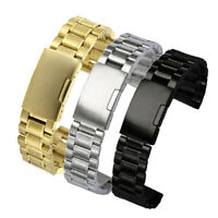 Stainless Steel Strap Metal Bracelet Watch Band Solid Links Straight End 18~24mm