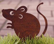 Edelrost Maus Marvin mit Schraube 10x8cm für Holz Gartendekoration Tierfigur
