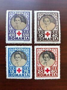 Romania 1945 Scott #B247-B250 Queen Mother Helen for Red Cross Mint LH