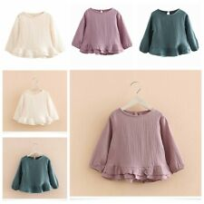 Child Girls Casual Wear Tops Spring Autumn Long Sleeves Pure Color Tops Clothing