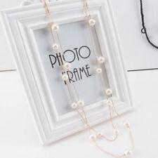 Fashion Women Multilayer Long Chain Pearl Beads Pendant Necklace Jewelry Gift