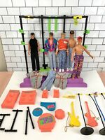 New Kids on the Block NKOTB Stage & 6 Dolls w/Clothes & Accessories - Incomplete