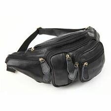 TIDING Men's Black Small Genuine Leather Waist Pack Fanny Pouch Camera Belt Bag