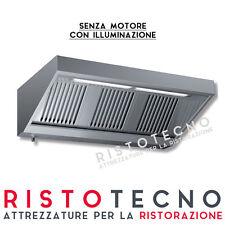 Cappa d'aspirazione ACCIAIO INOX senza motore CON ILLUMINAZIONE. Cm. 100x70x45H