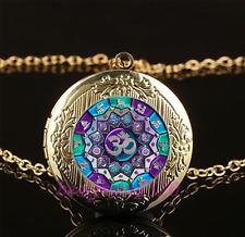 OM Mandala Cabochon Glass Gold Chain Locket Pendant Necklace