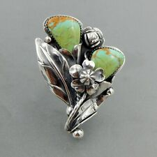 Wow handcrafted sterling silver Sonoran gold turquoise floral ring  W0145