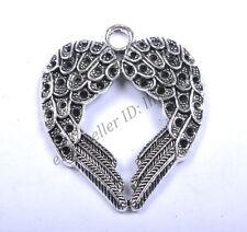 2Pcs Tibetan Silver Angel Wing Charm Pendant 45x36mm Jewelry Making DB1004