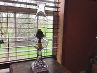 """Antique 18"""" Greek Key Pedestal Lavender Glass Banner Oil Lamp"""