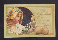 JOYEUSES PAQUES / ENFANT , AGNEAU & OEUF décor ART NOUVEAU avant 1904