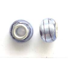 Azul 10 Plata Murano Cristal Cuentas 14x9mm agujero frustrado 5 mm