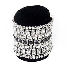 Wedding Bridal 3-Row Crystal Rhinestone Stretch Bracelet Cuff Bangle Wristband