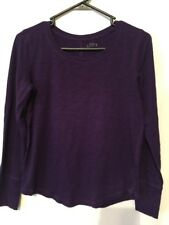 Ann Taylor LOFT Purple Cotton Tee Long Sleeves Rounded Bottom