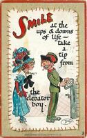 Dwig~Sad Girl Gets Advice From Elevator Boy~SMILE At Ups & Downs~Emboss~TUCK