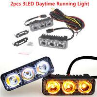 2x Car Daytime Running Light 3LED White DRL Light Amber Turn Signal Fog Lamp HO