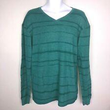 Billabong Mens Shirt Sz L Green Striped V Neck Casual Long Sleeve Waffle Q56