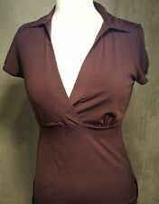 Maurices Woman's Blouse Brown V Neck Cap Sleeve Side Straps Size Small