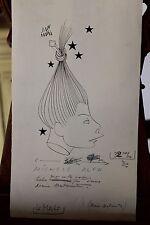 Dessin original (caricature) à l'encre de Mara Jean - Michele Alfa